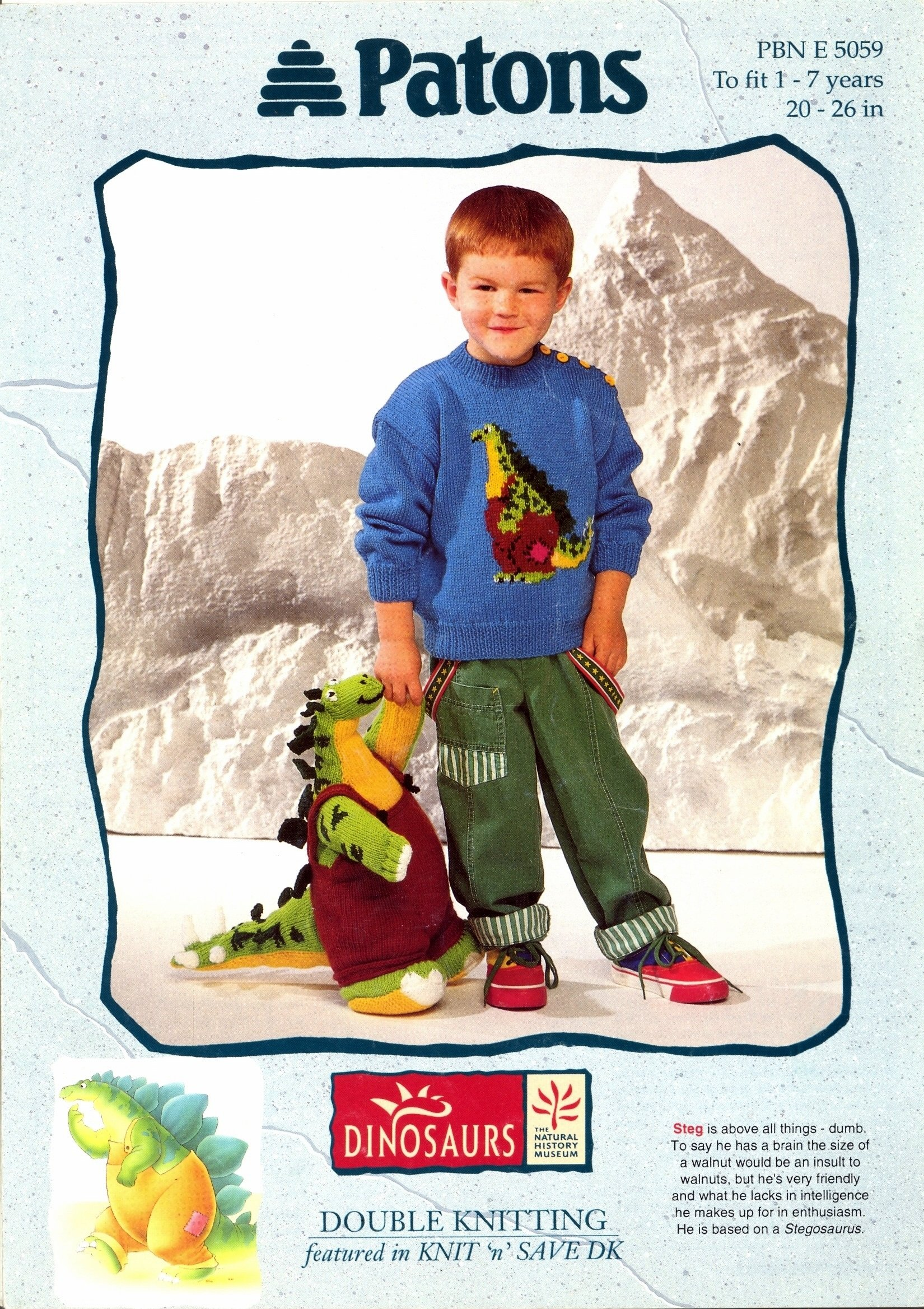 Patons Knitting Pattern 5059 Steg Dinosaur Sweater and Toy (20-26in ...