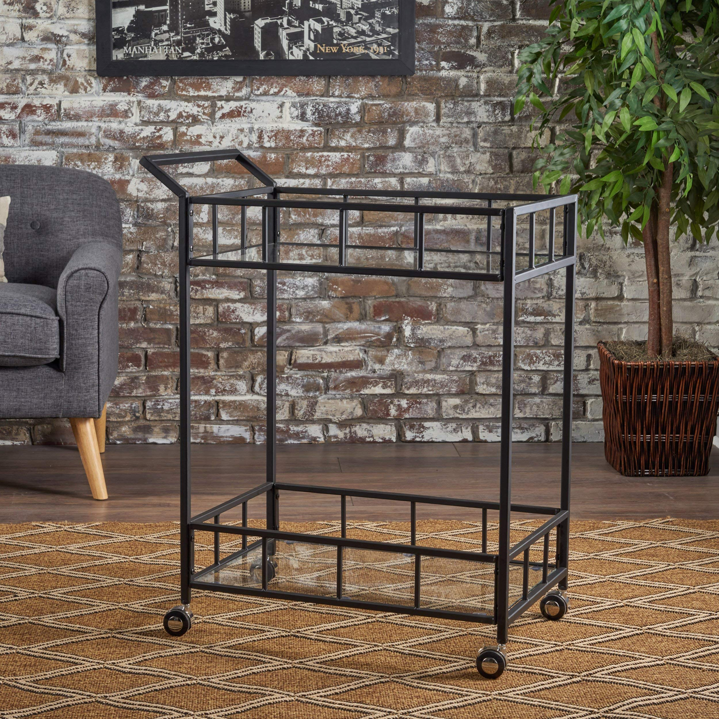 Christopher Knight Home Talon Indoor Industrial Modern Black Iron Bar Cart with Tempered Glass Top, by Christopher Knight Home
