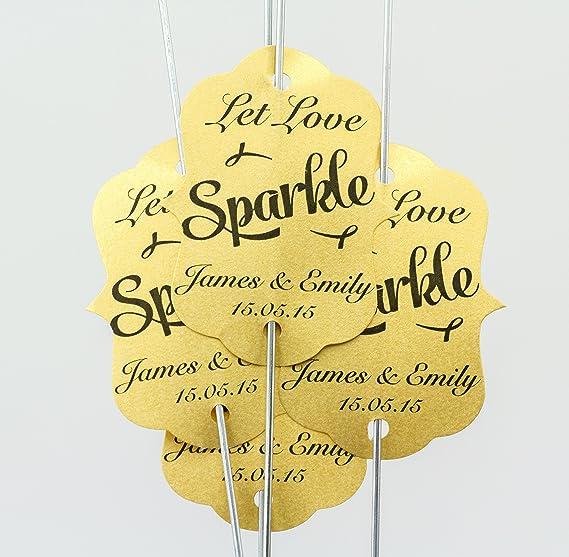 80 x personalizable (let Love leska hamaty) diseño con texto en inglés bengala etiquetas para - (oro fino) incluye grandes de oro bengalas 80 x 45,72 cm: Amazon.es: Hogar