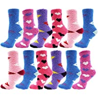 Soft Fuzzy Socks, 12 Pairs Womens Girls, Warm Microfiber Slippers with Non Skid Sole, Assorted Gift Pack