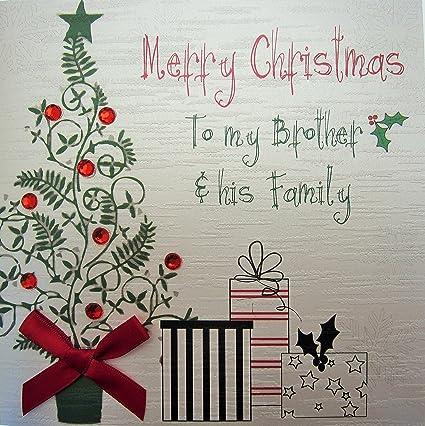 Merry Christmas Brother.Amazon Com White Cotton Cards Merry Christmas To My Brother