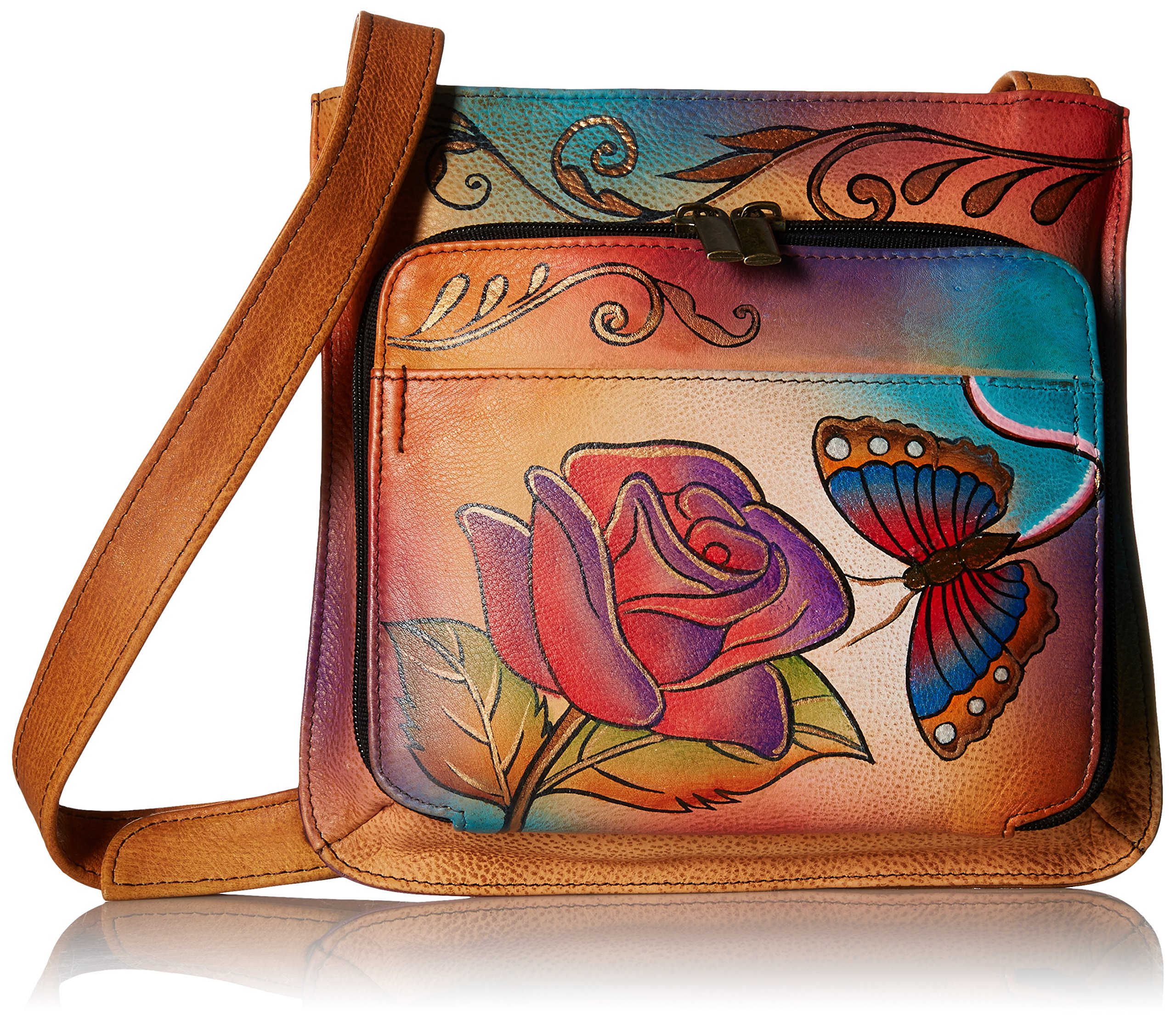 Anuschka Handpainted Leather 7011-RB Slim Shoulder Organizer, Rose Butterfly, One Size