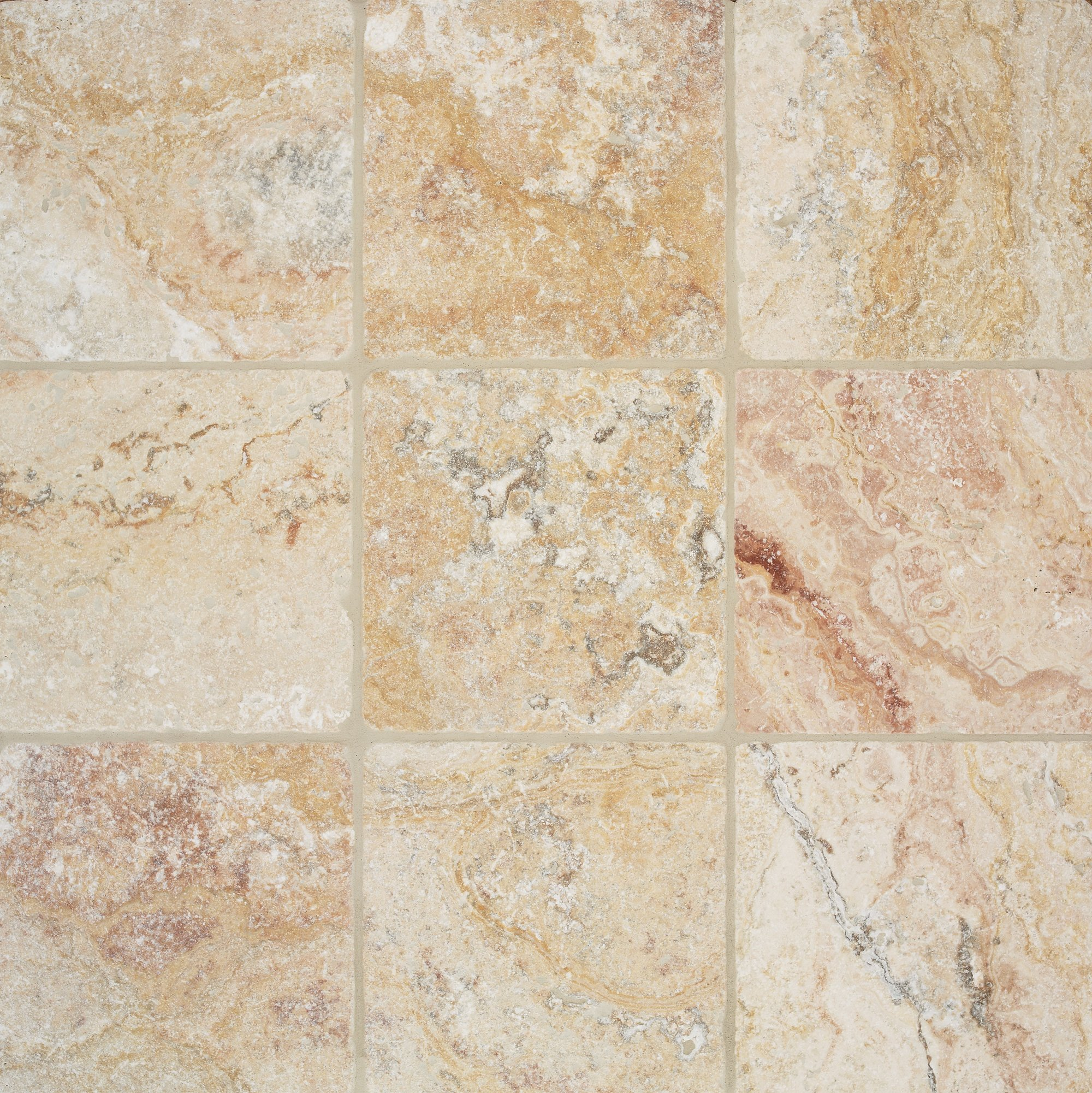 Arizona Tile 4 by 4-Inch Tumbled Travertine Tile, Scabos, 5-Total Square Feet