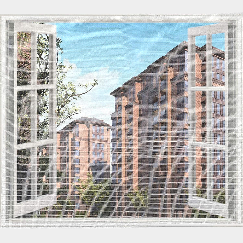 Wei/ß,Insektenschutz Fenster Fliegenvorhang Moskitonetz UUQ Fliegengitter Fenster Fliegengitter-Insektennetz 1,3 m x 1,5 m 4 Packung mit 8 Rollen Selbstklebeband 20 mm breit