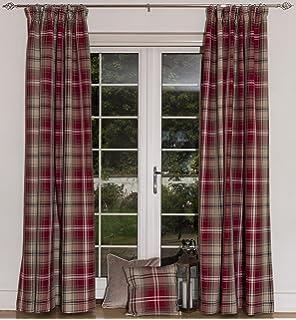 RED Grey TARTAN Check Curtains Highland Natural Beige EYELET Ring ...