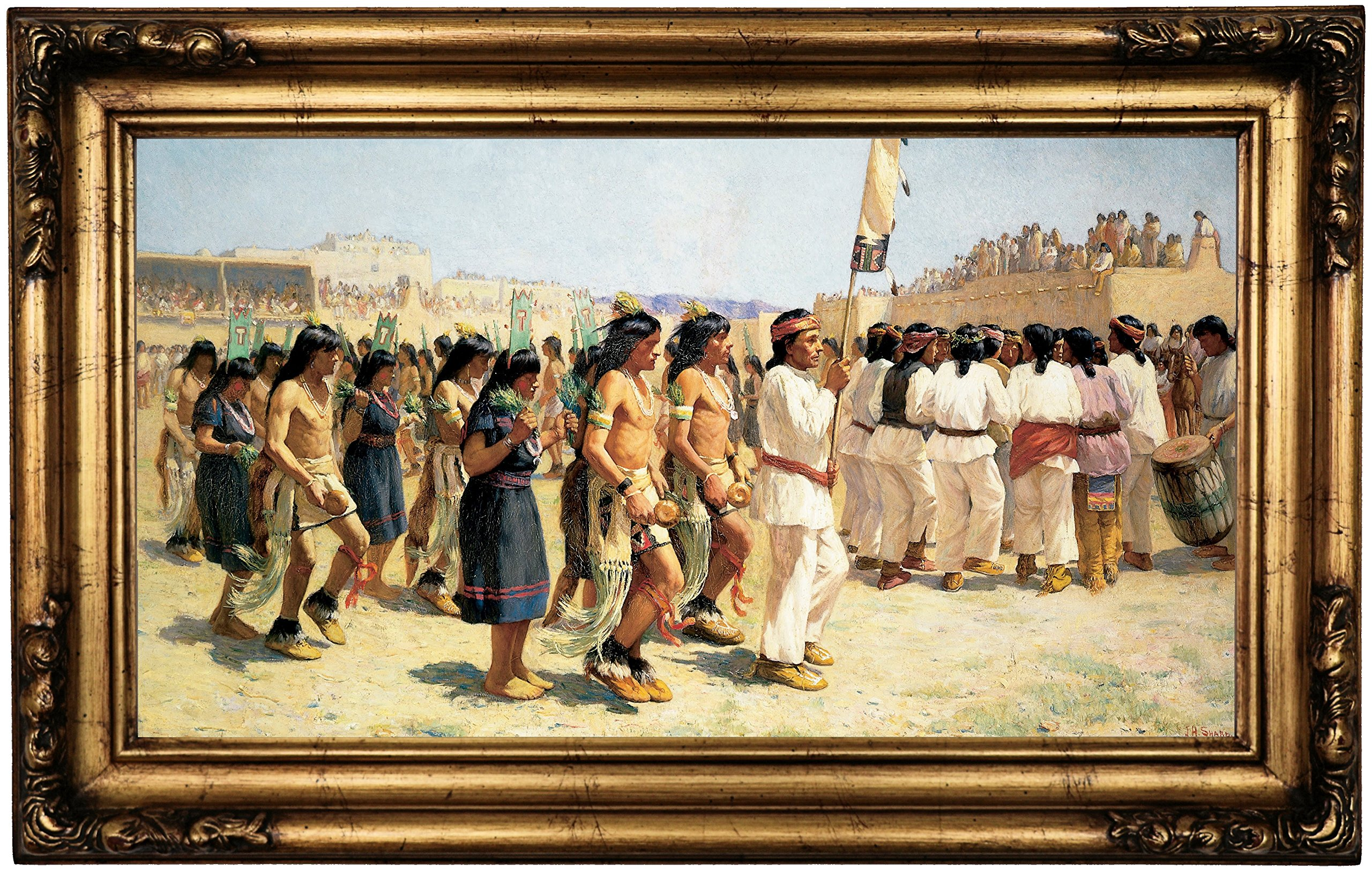Historic Art Gallery the Harvest Dance 1893 by Joseph Henry Sharp Framed Canvas Print, 12'' x 22'', Gold Gallery by Historic Art Gallery