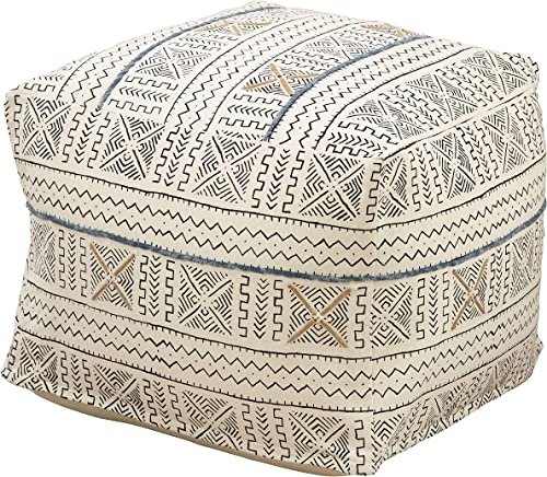 Occasion Gallery White African Mud Cloth Inspired Pouf