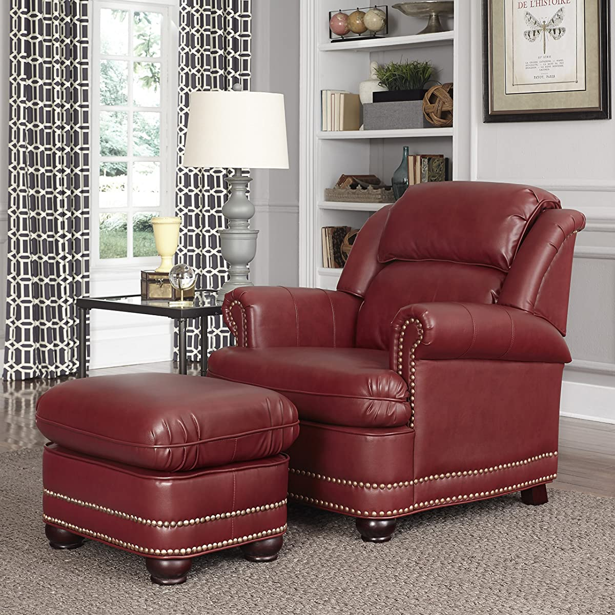 Home Styles 5201-100 Winston Stationary Chair and Ottoman, Garnet Red