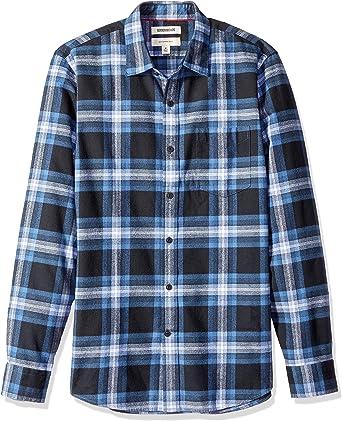 Marca Amazon - Goodthreads - Camisa de franela peinada con manga larga y corte entallado para hombre: Amazon.es: Ropa y accesorios