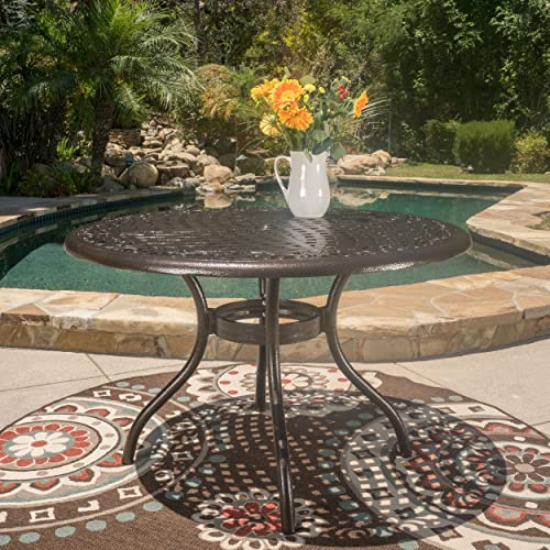 Kiawah Round Cast Aluminum Outdoor Patio Table Perfect for Dining in Hammered Bronze
