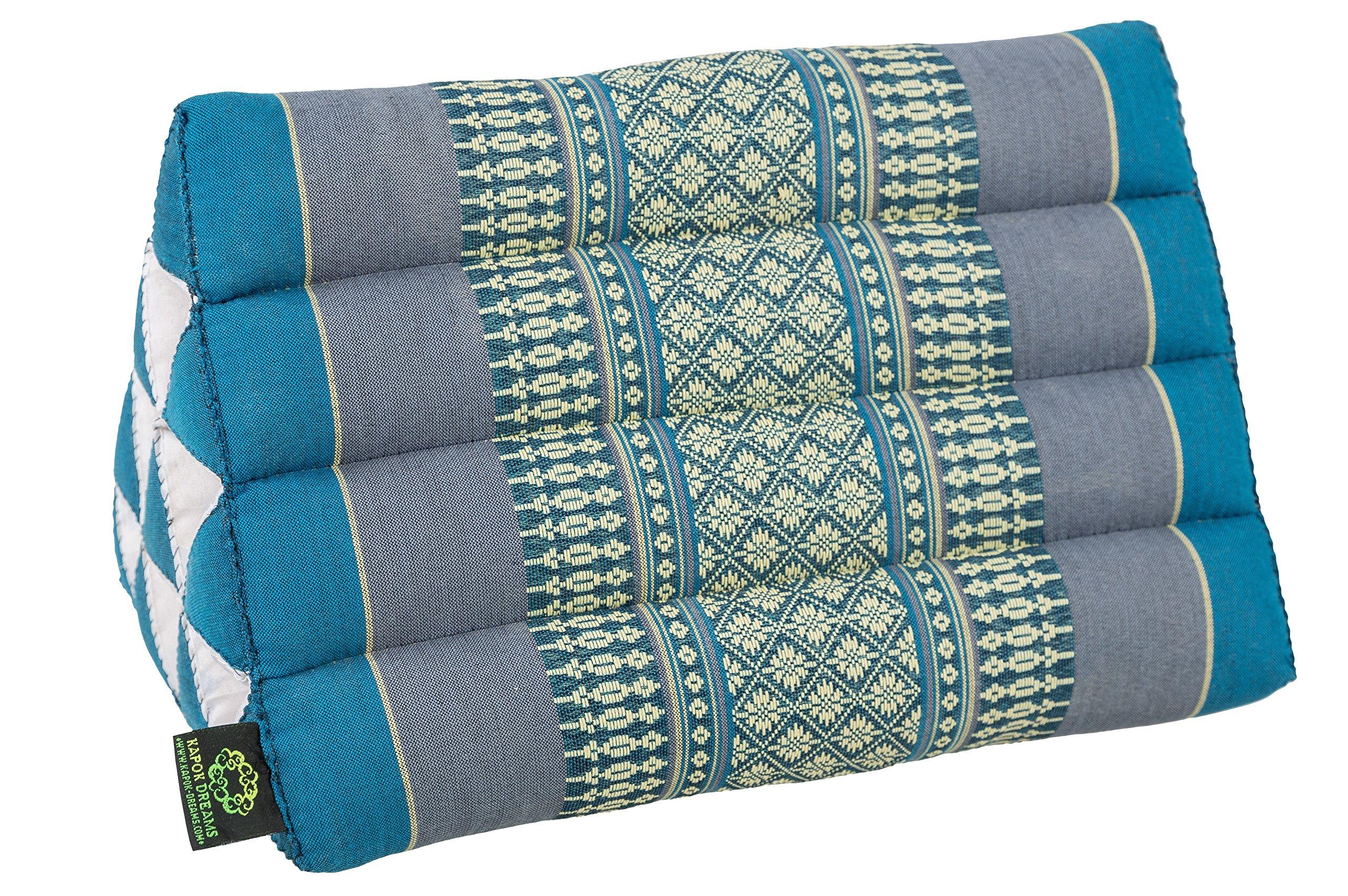 Kapok Dreams Triangle Pillow 13''x8'', Triangular Cushion (Medium Size), 100% Kapok-Stuffing, Blue Tones. by Kapok Dreams