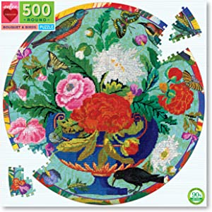 eeBoo's Piece and Love Bouquet and Birds 500 Piece Adult Round Jigsaw Puzzle
