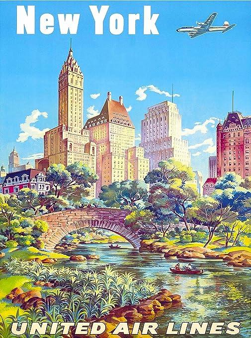 United Air Lines Vintage Travel Poster Print classic wall art Retro New York
