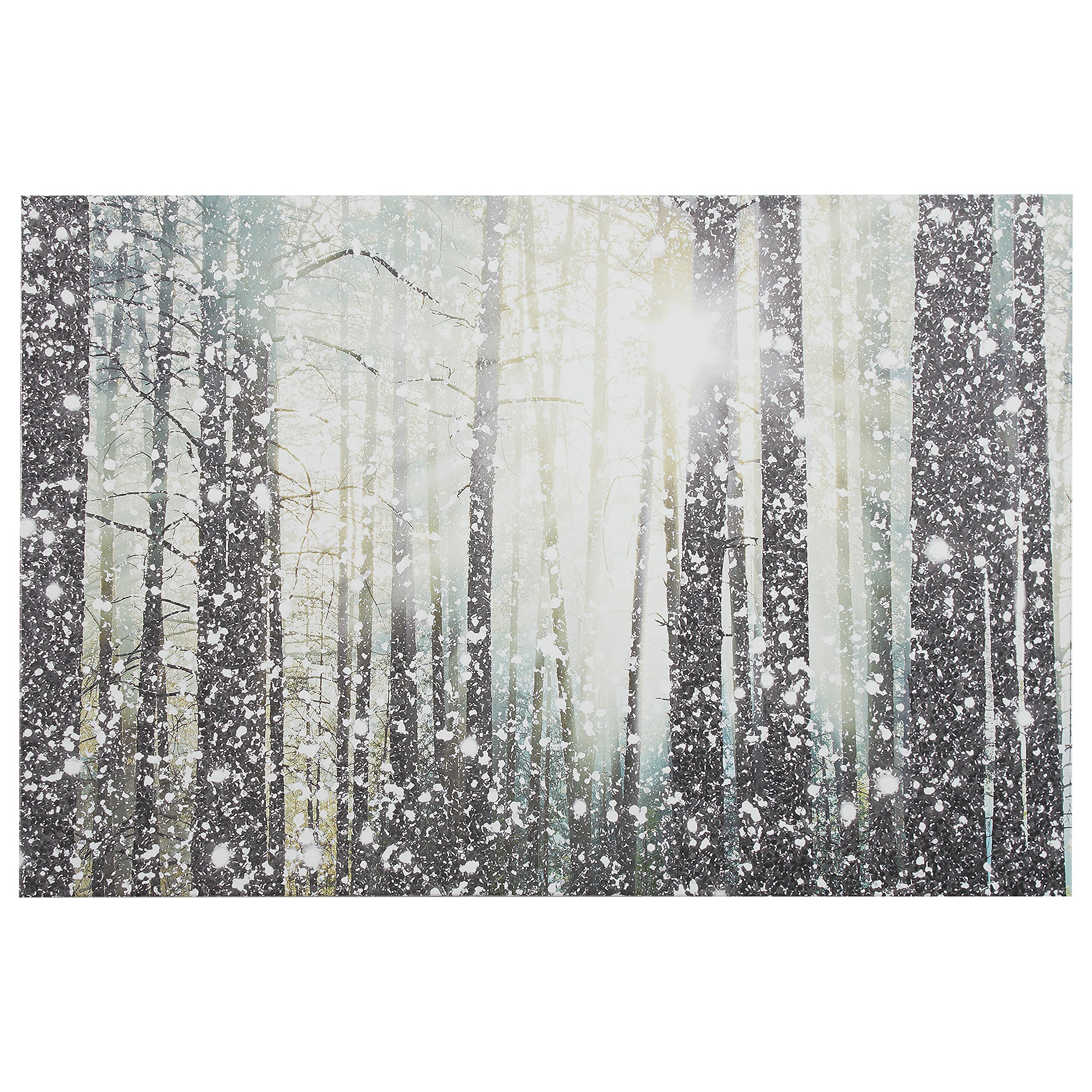 Modern Silver and White Forest Print on Canvas, 36'' x 24''