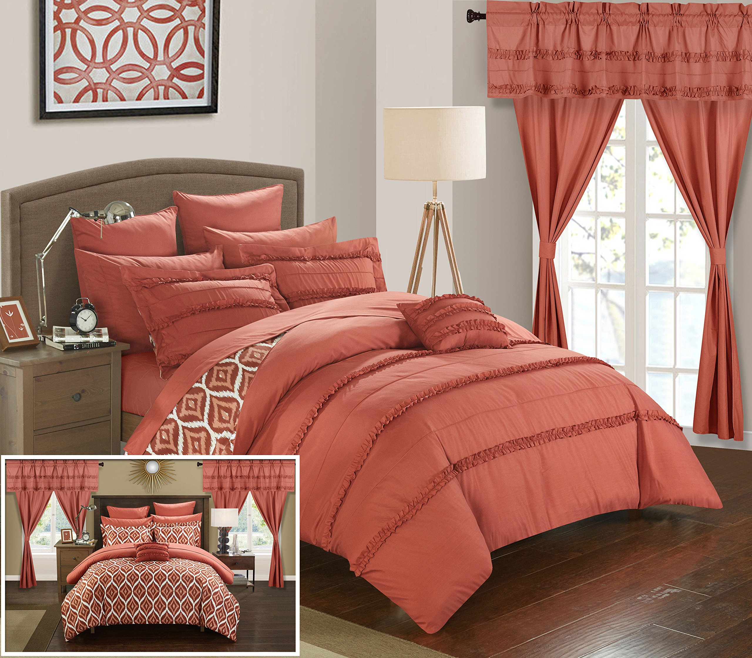Chic Home CS0733-AN 20 Piece Adina Complete Bed Room In A Bag Super Pinch Pleated Design Reversible Geometric Pattern Comforter Set, Sheet, Window Treatments And Decorative Pillows, King, Brick Orange