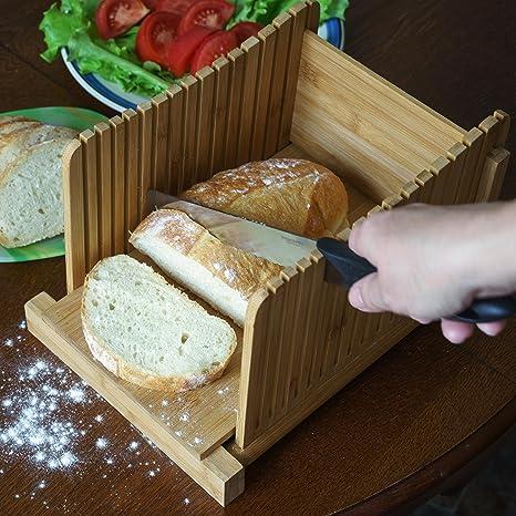 Kenley Rebanadora de Pan - Plegable Cortadora de Pan de Bambú – Manual Máquina para Cortar Sandwich, Tostado, Pastel de Pan, Emparedado