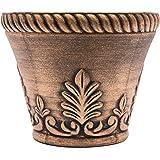 Rustic Venetian Look Plastic Planter 10X8 Flowerpot for Indoor, Outdoor, Garden, Patio, Office Ornaments, Home Decor, Long Lasting Reusable, Light Weight, Water Resistant (Gold)