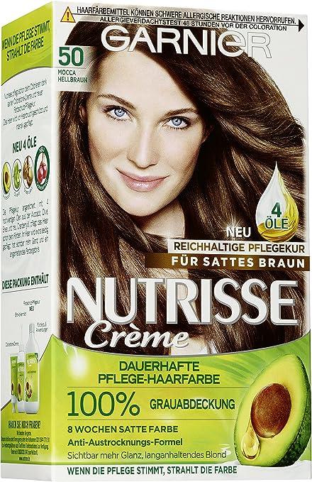 Garnier Nutrisse Creme / Pflegende Intensive-Coloration mit Fruchtöl / 100% Grauhaarabdeckung /mit Avocadoöl/ Mocca 50 (Hell-Braun
