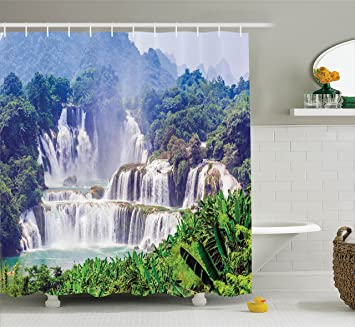 Room Decorations Shower Curtain Set By Ambesonne, Waterfall Exotic Tropical  Plants Leaves Natural Swimming Pool