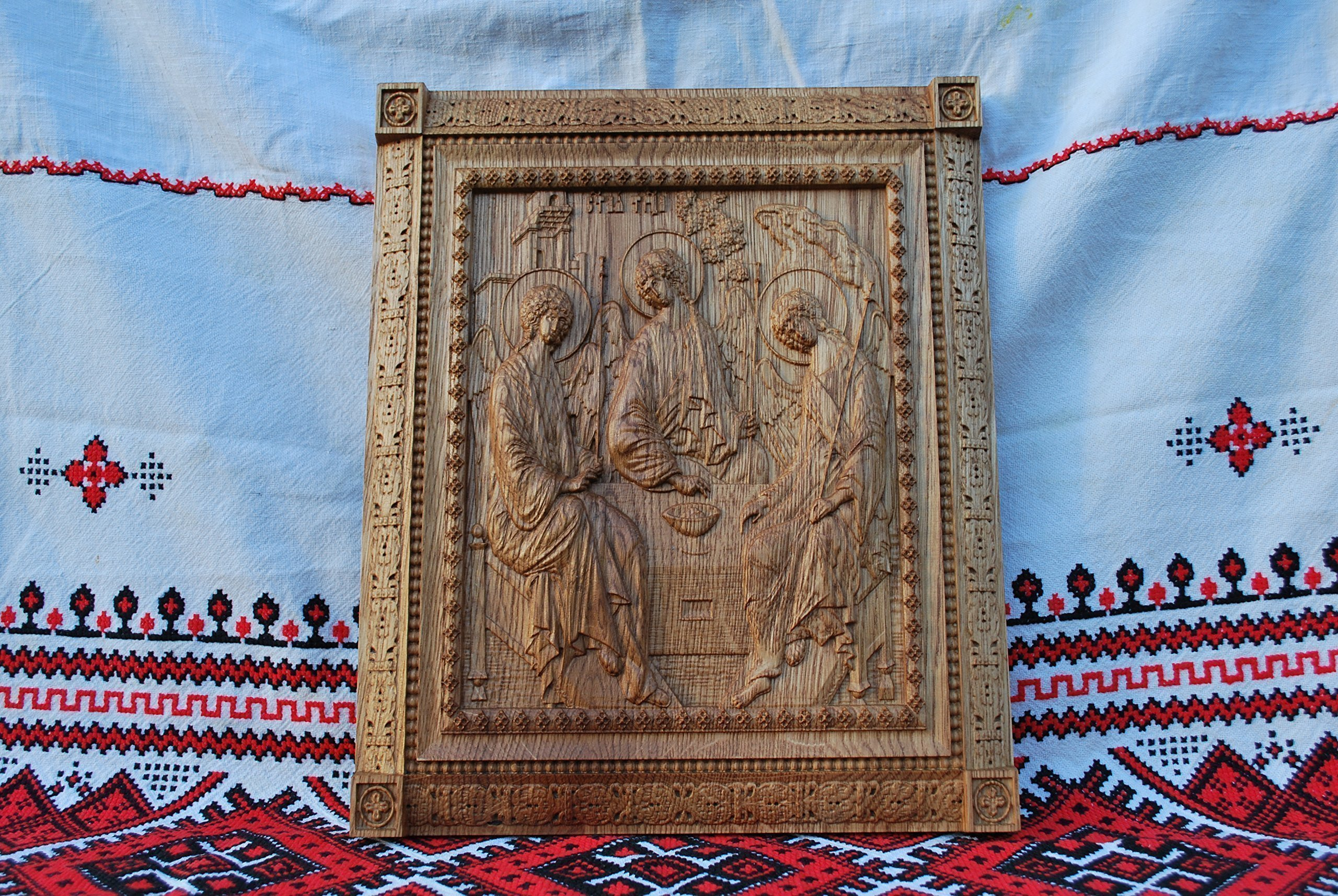 Holy Trinity Icon personalized religious gift Wood Carved religious wall plaque FREE ENGRAVING FREE SHIPPING by Woodenicons Artworkshop ''Tree of life'' (Image #7)