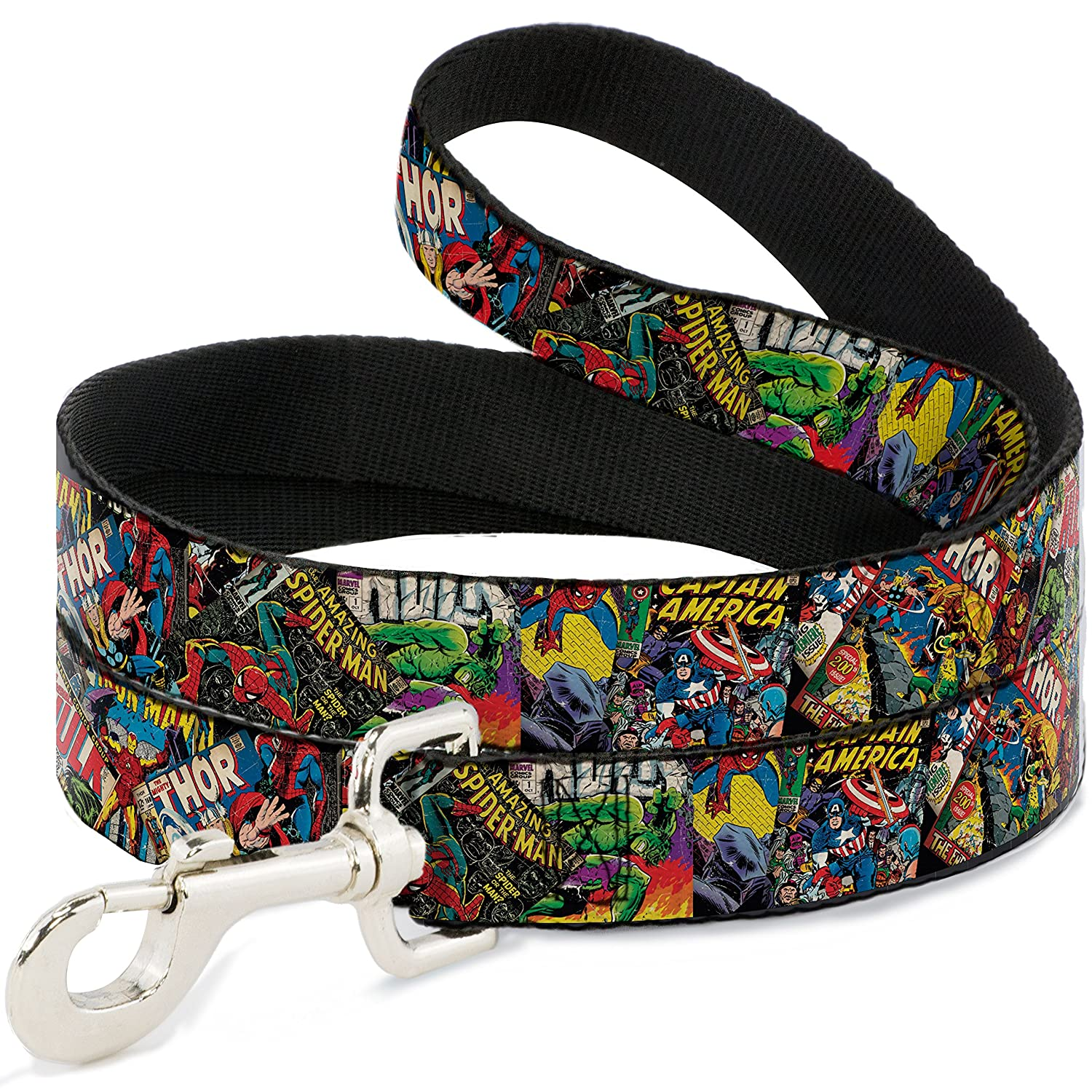 6 Feet Long 1\ Buckle-Down Pet Leash Retro Marvel Comic Books Stacked Close-UP 6 Feet Long 1  Wide