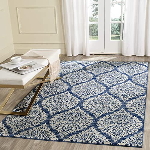 Safavieh Evoke Collection EVK268F Damask Ogee Navy and Ivory Area Rug 3 x 5