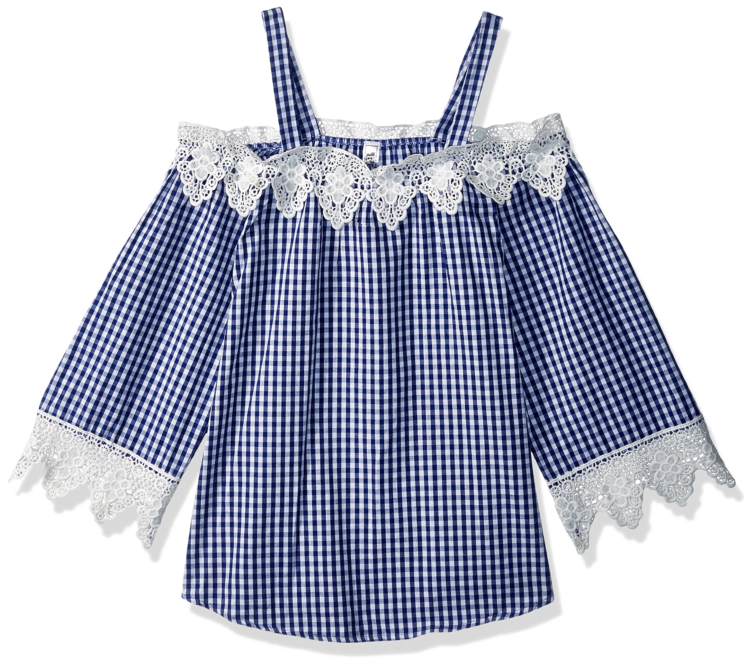 Beautees Big Girls' Off The Shoulder Top, Navy, Large