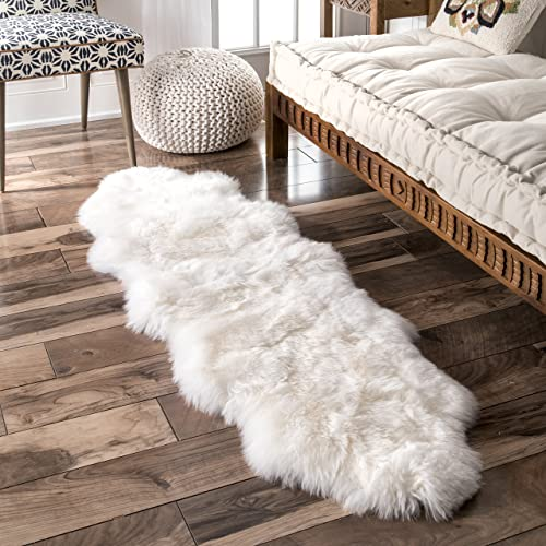 nuLOOM Due Handmade Sheepskin Shag Rug, 1 10 x 5 7 , Natural