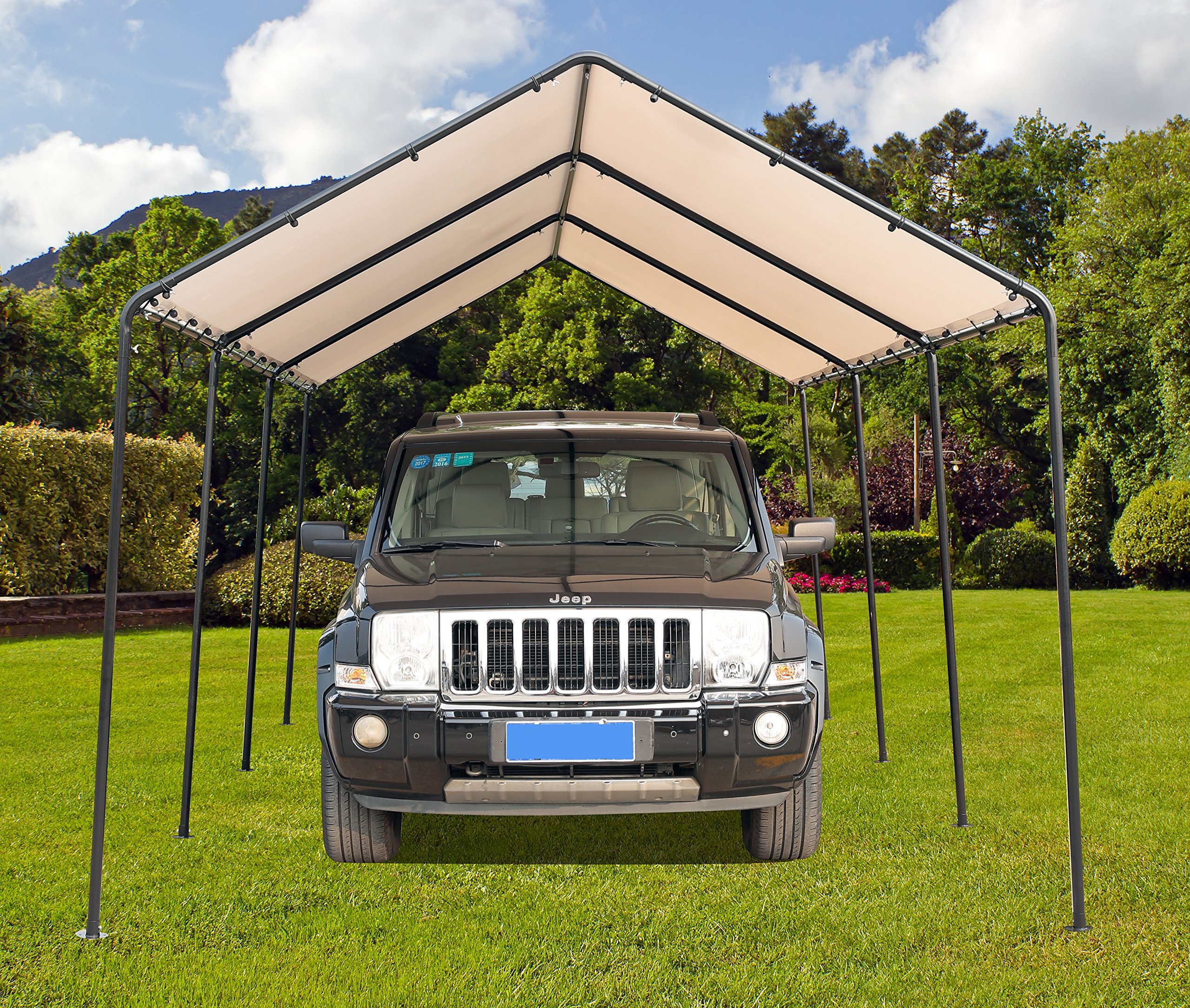 SORARA Carport 10' x 20' Outdoor Car Canopy Gazebo with 8 Steel Legs, White by SORARA