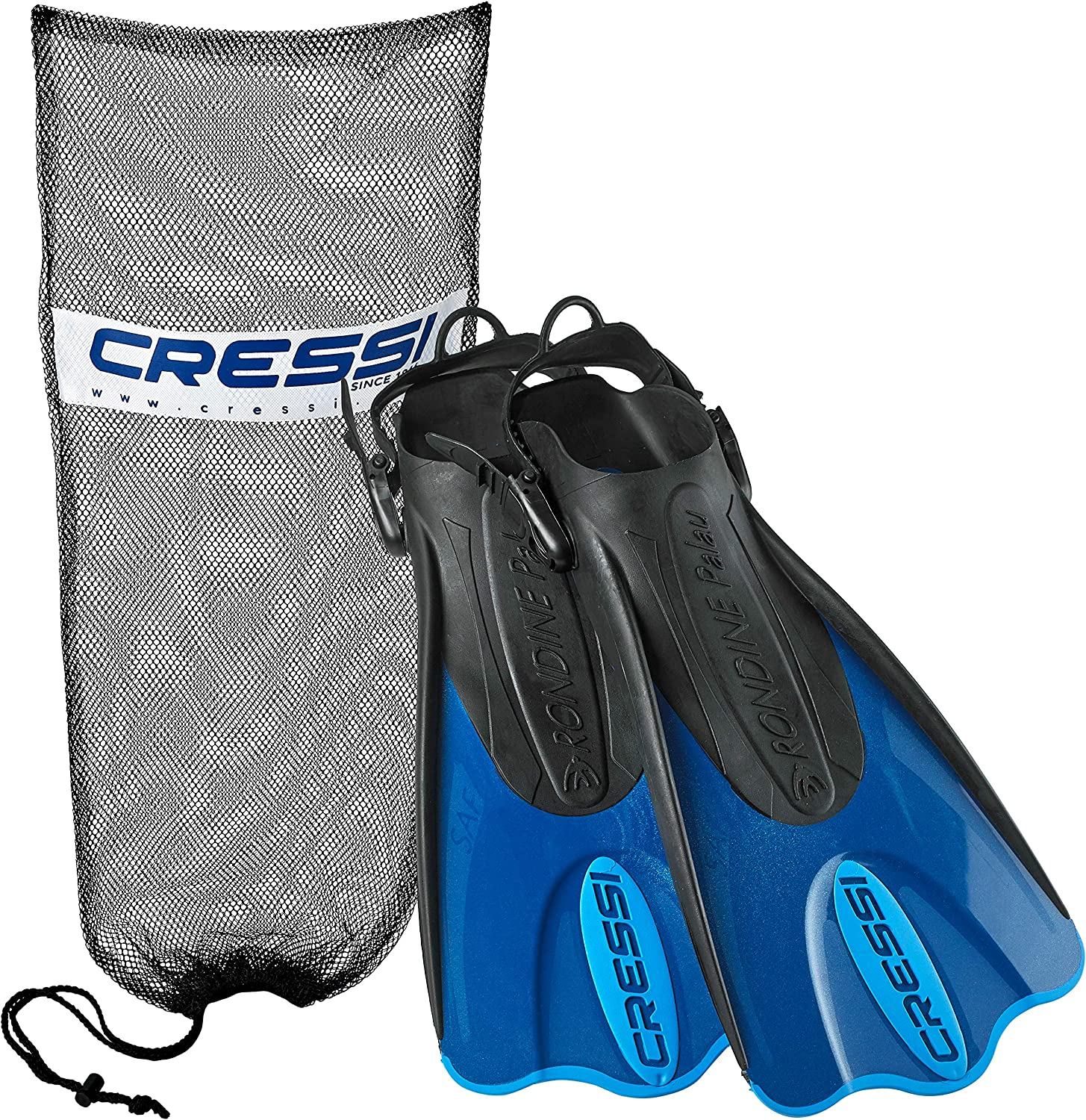 Cressi Palau Short Snorkeling Fins with Mesh Bag, Blue, X-Small/Small