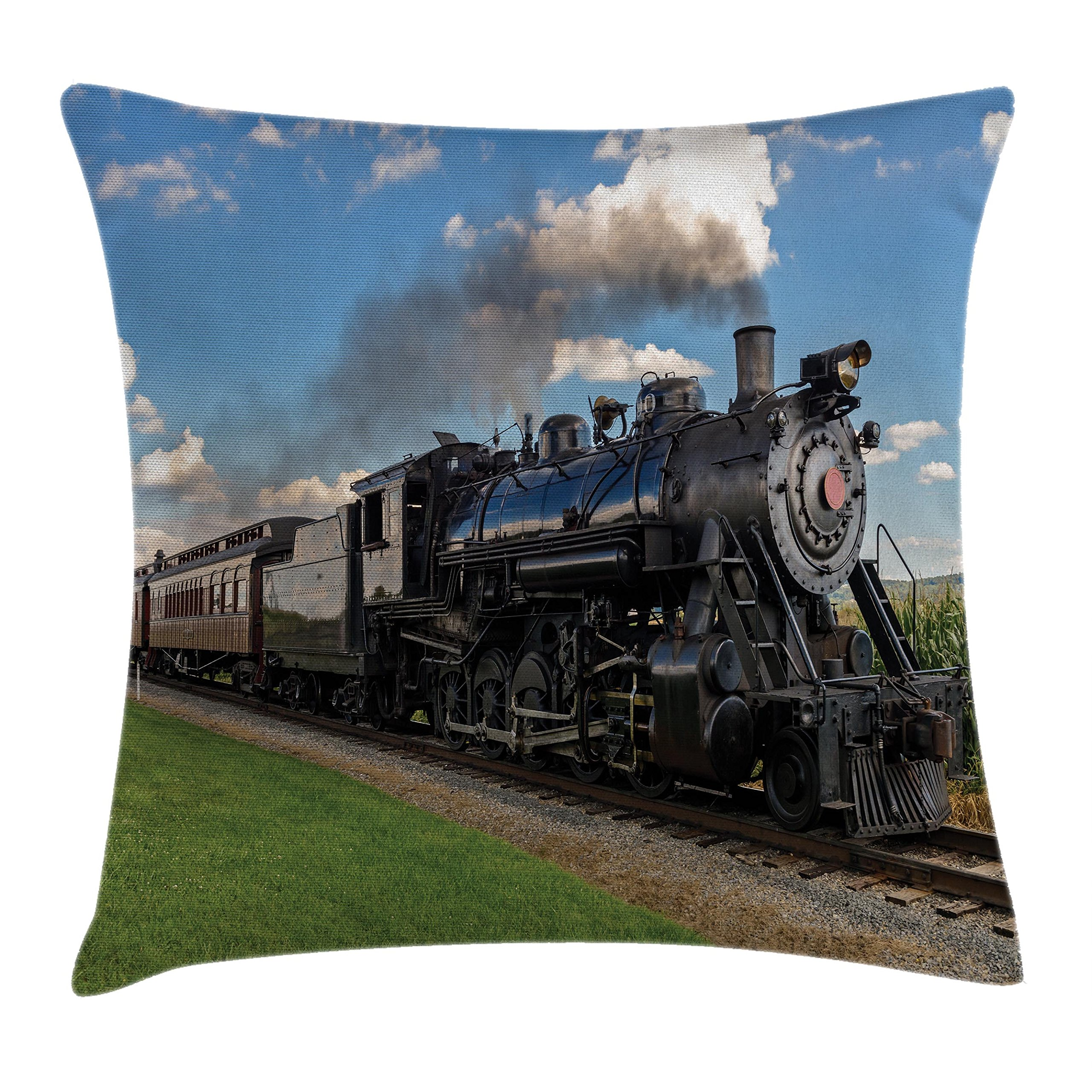 Ambesonne Steam Engine Throw Pillow Cushion Cover, Vintage Locomotive in Countryside Scenery Green Grass Puff Train Picture, Decorative Square Accent Pillow Case, 40 X 40 Inches, Blue Green Black by Ambesonne (Image #1)