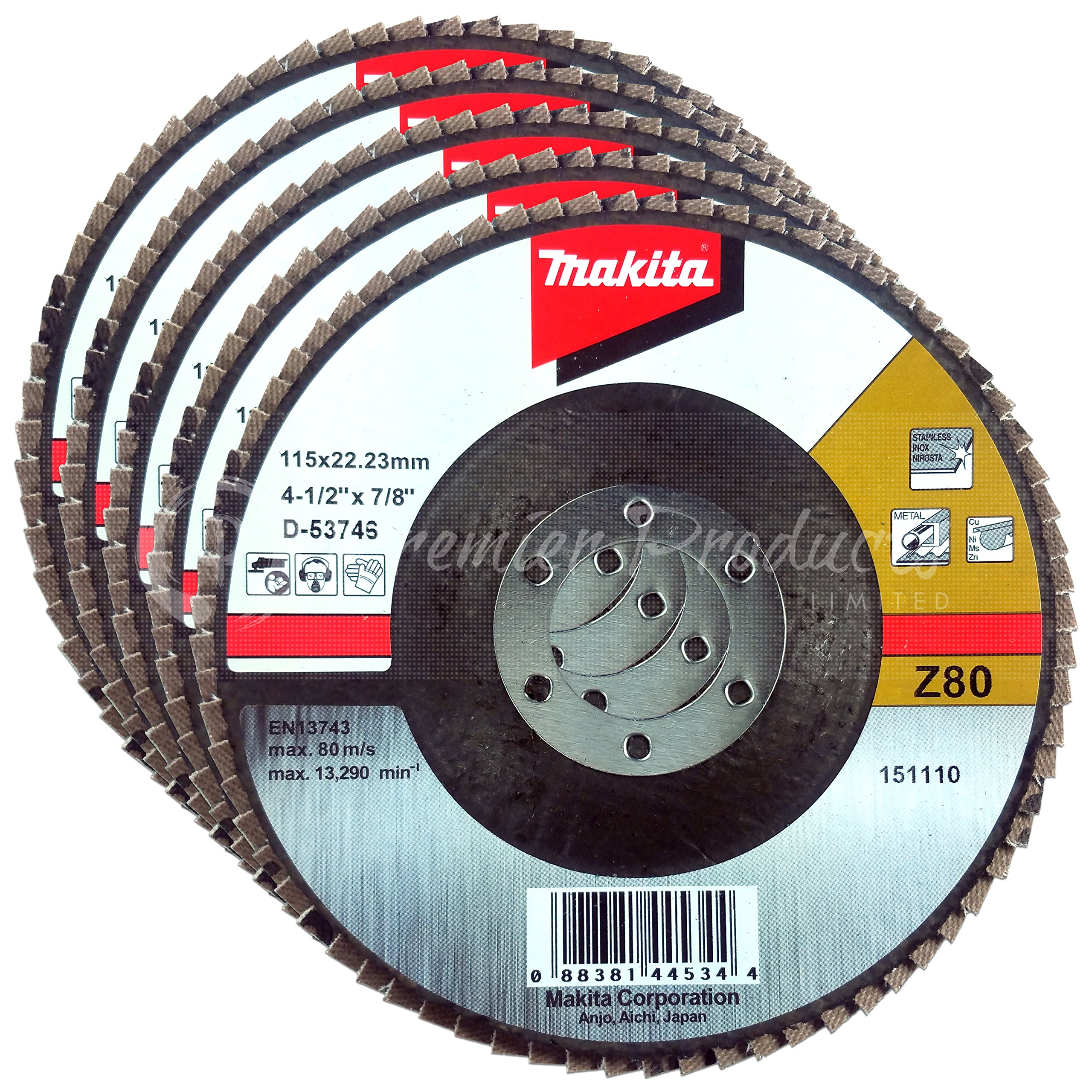 Makita 5 Pack - 80 Grit Flap Disc For Grinders - Balanced Conditioning For Metal, Stainless Steel & Non-Ferrous - 4-1/2'' x 7/8-Inch | Z80 Angled