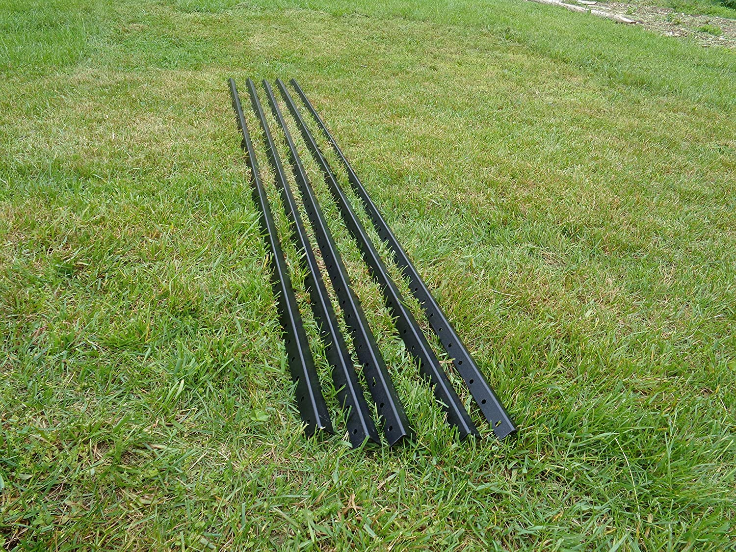 Black PVC Coated Galvanized Steel Posts With Sleeves For 6/' Deer Fencing 7pk.