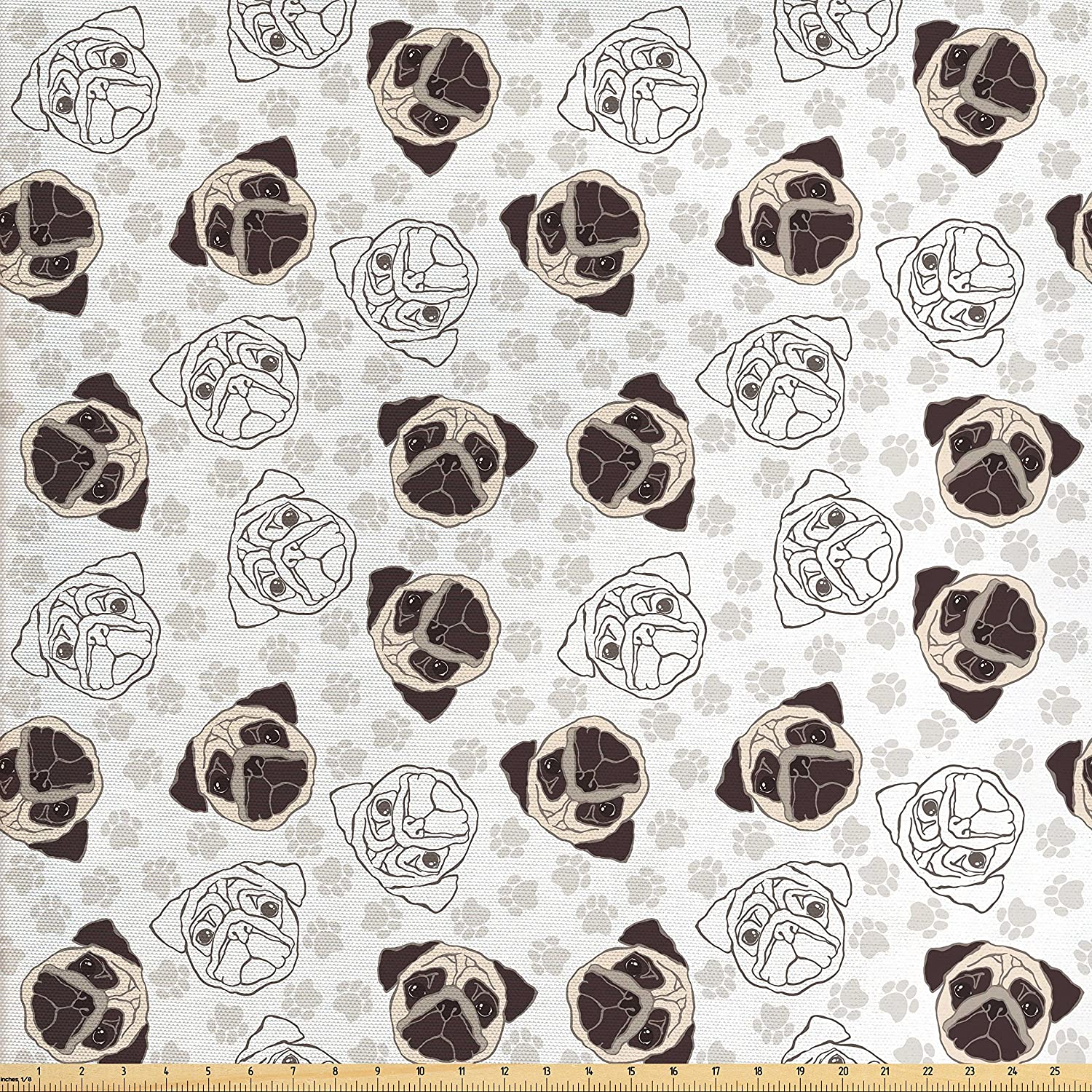 Amazon Com Ambesonne Dog Fabric By The Yard Pug Portraits Traces