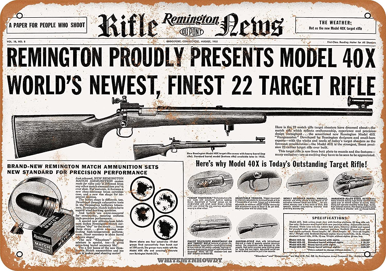 Remington Rustic Rifles and Pistols Embossed Metal Wall Art Sign