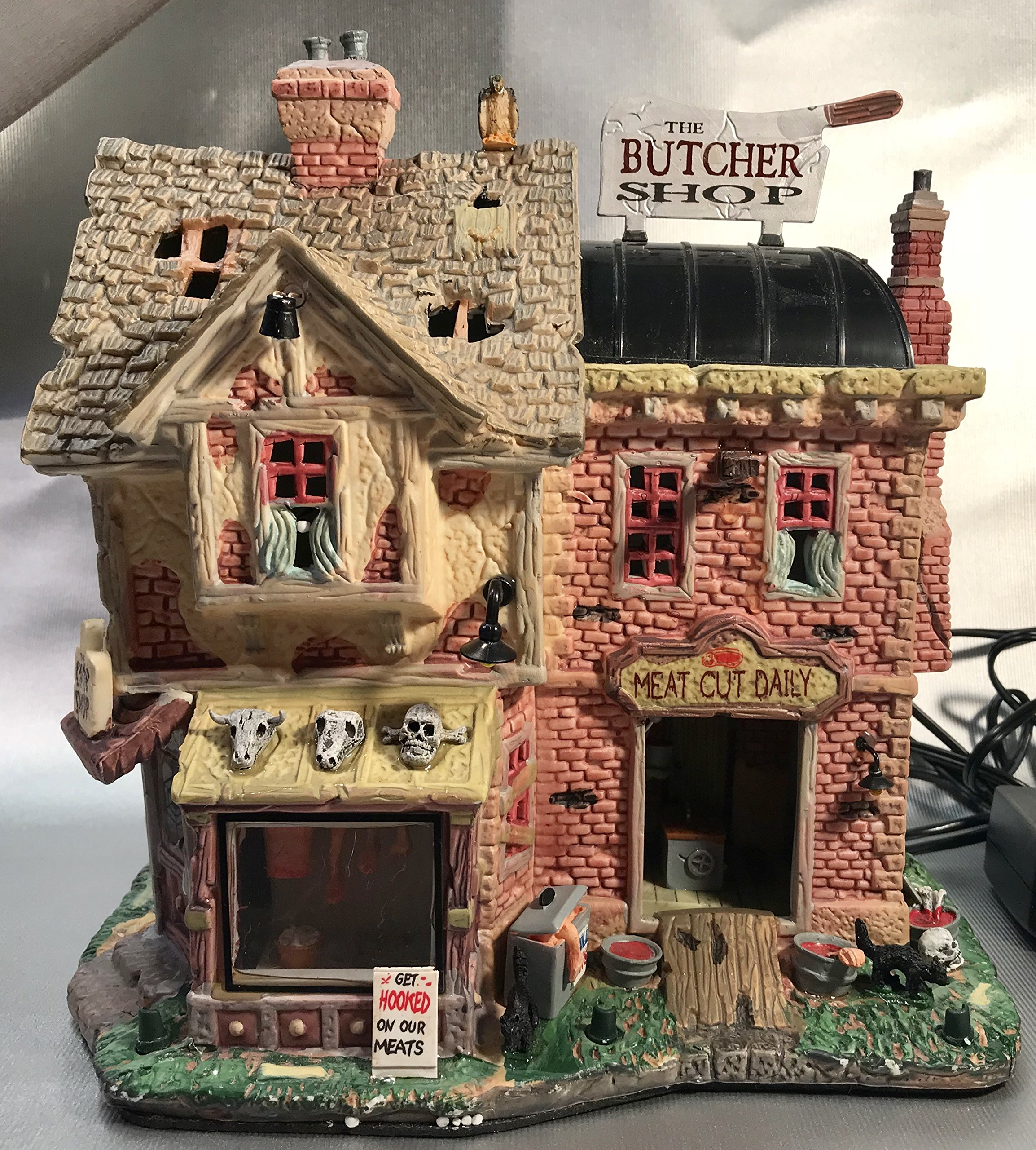 Lemax Spooky Town The Butcher Shop with Adaptor # 85663 by Lemax