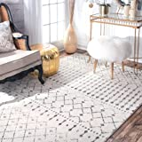 Transitional Vintage Moroccan Trellis Grey Area Rugs, 9 Feet by 12 Feet (9' x 12')
