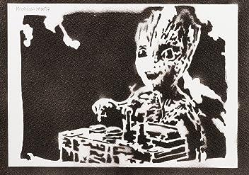 Baby Groot Les Gardiens De La Galaxie Handmade Street Art - Artwork - Poster