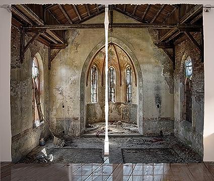 Rústico Decoración para el hogar cortinas por Ambesonne, interior de la antigua iglesia rota con
