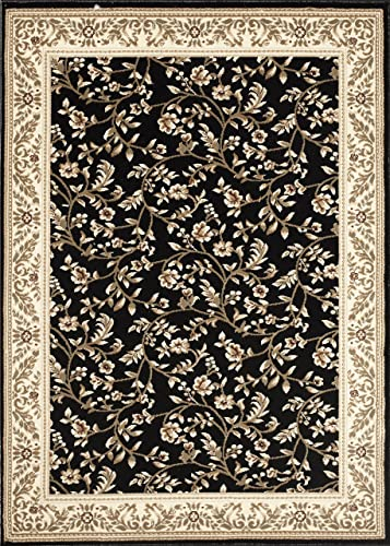 Floral Black Transitional 5 3 X 7 3 Area Rug