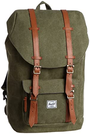 Herschel Supply Co. Little America Canvas, Washed Army, One Size ... 0e341a5c1d
