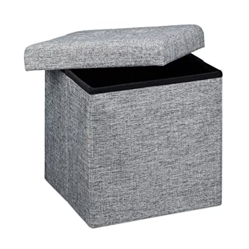 Perfect Relaxdays Ottoman Foldable Footstool Box Storage Cube With Removable Lid,  Fabric, Grey, 38