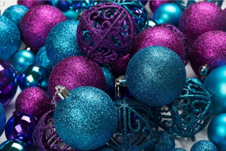 Amazoncom 100 Purple And Blue Christmas Ornament Balls