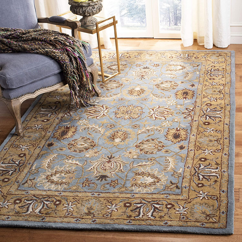 Amazon Com Safavieh Heritage Collection Hg958a Handmade Traditional Oriental Premium Wool Area Rug 8 3 X 11 Blue Gold Furniture Decor