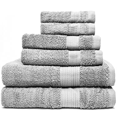 Zeppoli 6-Piece Towel Set - 100% Cotton Grey Towels - 2 Bath Towels, 2 Hand Towels, 2 Washcloth Towels - Ultra Soft and Absorbent Bathroom Towels - Great Shower Towels, Hotel Towels & Gym Towels