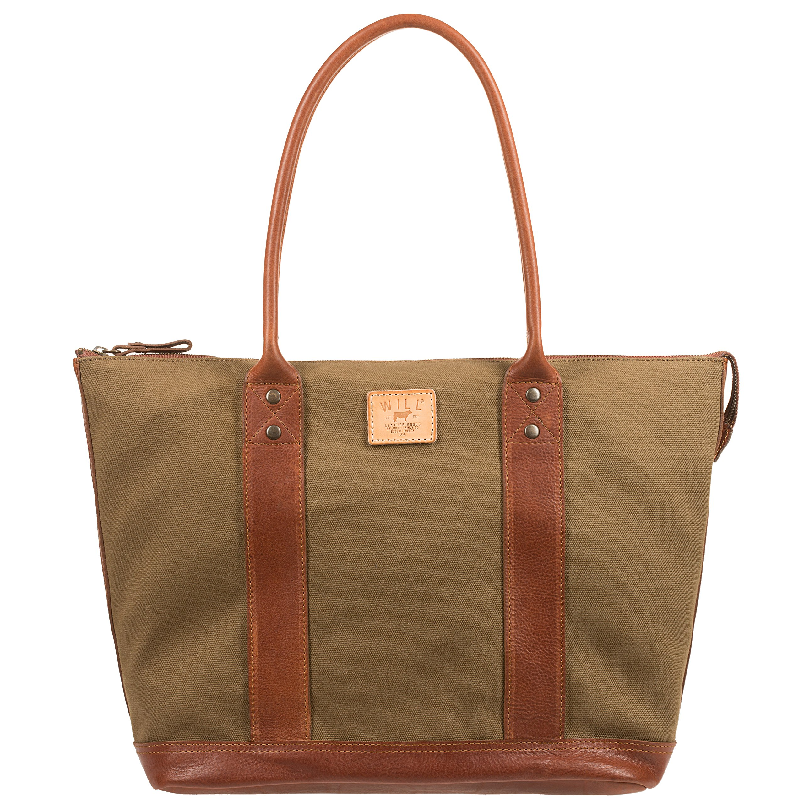 Will Leather Goods Women's Large Signature Canvas and Leather Getaway Tote, Tobacco & Saddle Brown