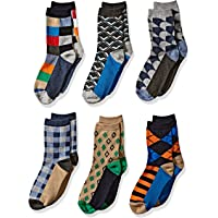 Jefferies Socks Little Boys' Fun Colorful Dress Crew Socks 6 Pair Pack, Multi