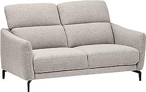 """Amazon Brand – Rivet Kaden Mid-Century Modern Adjustable Headrest Loveseat Sofa, 61.8""""W, Light Grey"""