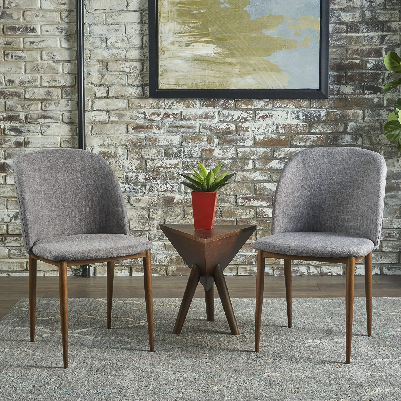 Christopher Knight Home Anastasia Dining Chair (Set of 2), Light Grey + Light Walnut
