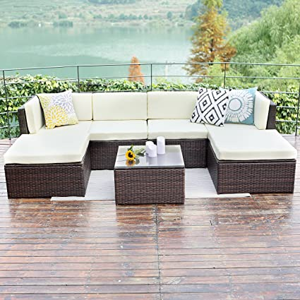 Wisteria Lane Outdoor patio furniture sets, 7 PC Wicker Sofa Set Garden  Rattan Sofa Cushioned Seat with Coffee Table,Brown